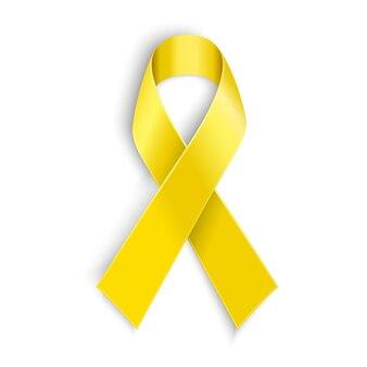 Cinta de conciencia amarilla sobre fondo blanco. símbolo de apoyo de tropas y cáncer de hueso