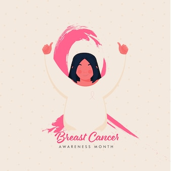 Cinta de concienciación sobre el cáncer de mama hecha por pincel rosa con niña mostrando los pulgares para arriba sobre fondo beige.