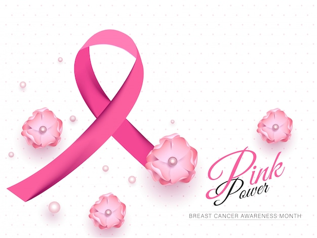 Cinta de concientización sobre el cáncer de mama con flores y perlas decoradas en blanco para pink power