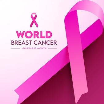 Cinta de concientización sobre el cáncer de mama mundial sobre fondo rosa.
