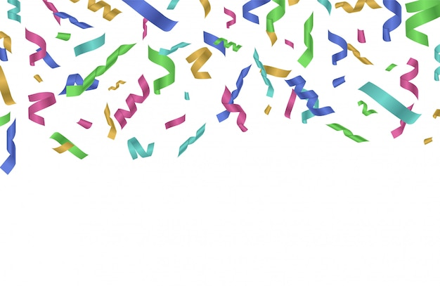Cinta de confeti volador. cintas de colores cayendo. fondo festivo