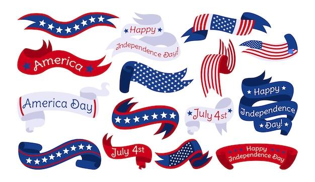 Cinta conjunto del día de la independencia americana, bandera de estados unidos colección de cintas insignia patriótica