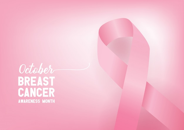 Cinta del conocimiento del cáncer de mama. concepto del día mundial del cáncer de mama.
