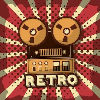 Cinta de carrete grabar audio retro vintage sunburst