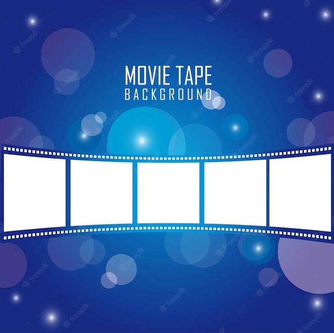 Cinta de película sobre ilustración vectorial de fondo azul