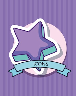 Cinta decorativa e icono de estrella linda
