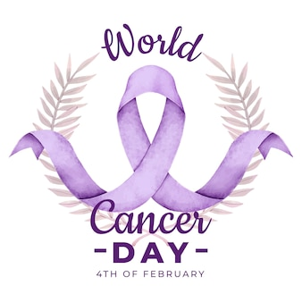 Cinta del día del cáncer en acuarela