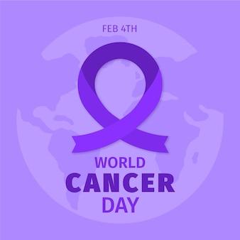 Cinta del día del cáncer con globo terráqueo