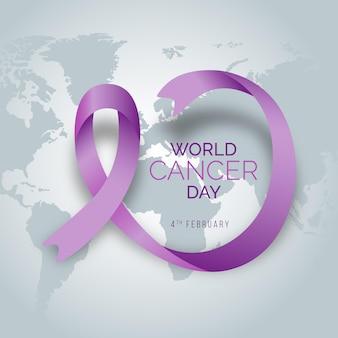 Cinta del día mundial del cáncer degradado