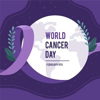 Cinta del día mundial del cáncer de diseño plano
