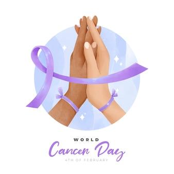 Cinta del día mundial contra el cáncer con manos