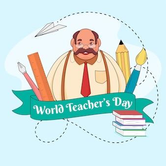 Cinta del día mundial del maestro con elementos de material escolar y personaje de dibujos animados sobre fondo azul.
