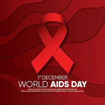 Cinta del día mundial del sida en estilo papel con fondo ondulado