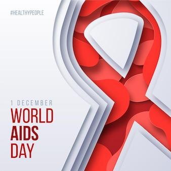 Cinta del día mundial del sida en estilo papel.