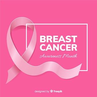 Cinta de estilo realista para evento de concientización sobre el cáncer de mama