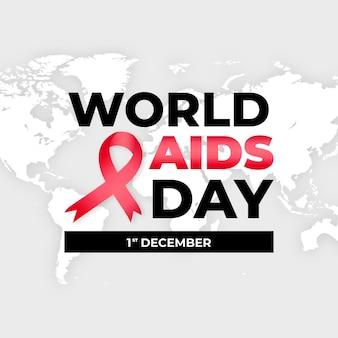 Cinta y fecha del día mundial del sida en diseño plano