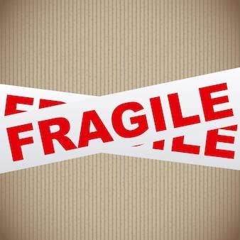 Cinta frágil sobre fondo lineal ilustración vectorial