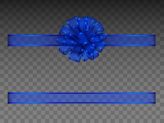 Cinta y lazo azul transparente
