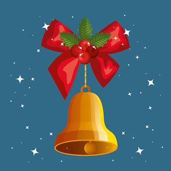 Cinta de lazo con campana colgando de navidad