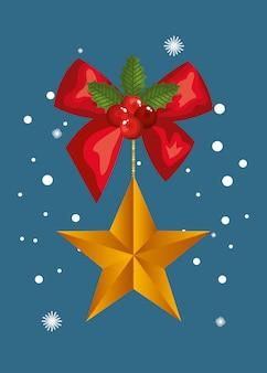 Cinta de lazo con estrella colgante de navidad