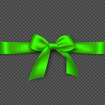 Cinta y lazo verde brillante realista. ilustración.