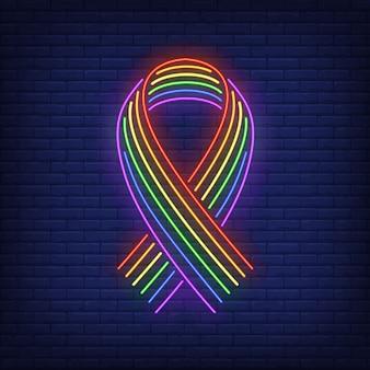 Cinta con letrero de neón del arco iris lgbt