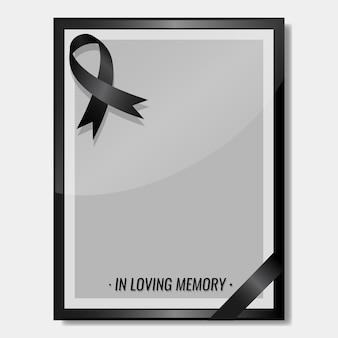 Cinta de luto con concepto de funeral de espacio de copia de marco