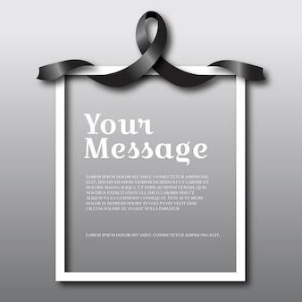 Cinta de luto negro con espacio de texto