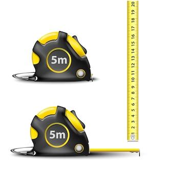 Cinta métrica de acero retráctil amarilla con medidas imperiales y métricas aisladas