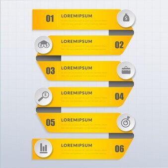Cinta moderna vector abstracto 3d papel diseño infográfico