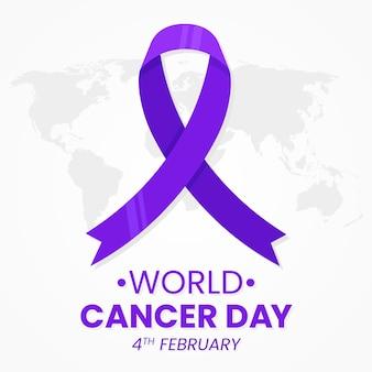 Cinta morada del día del cáncer en el mapa mundial