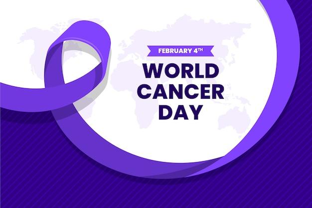 Cinta morada del día mundial del cáncer de diseño plano