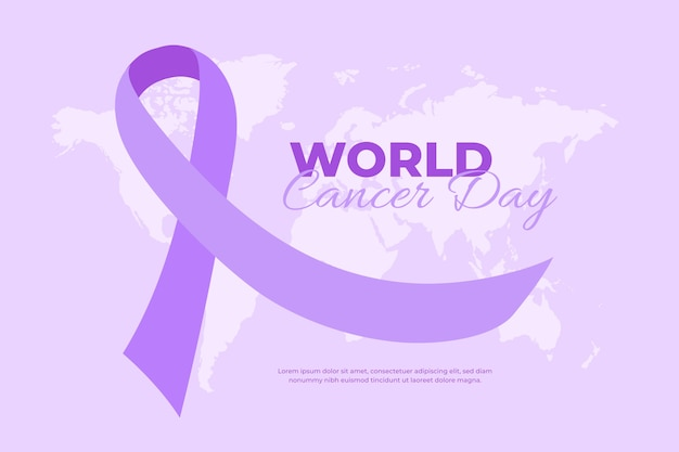 Cinta morada del día mundial del cáncer plana