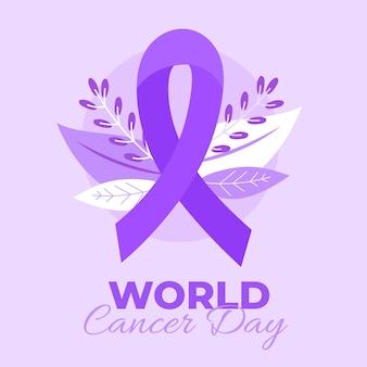 Cinta morada del día mundial contra el cáncer