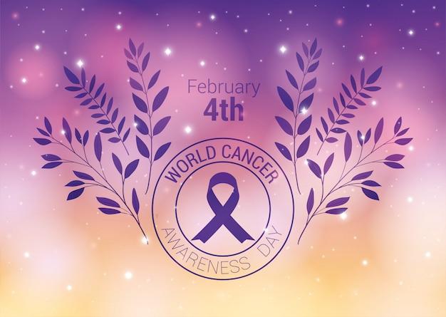 Cinta morada y diseño de hojas, día mundial del cáncer, cuatro de febrero, campaña de concientización, prevención de enfermedades y tema de fundación