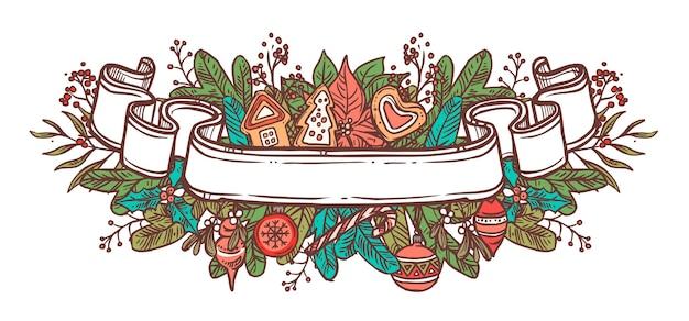 Cinta de navidad doodle. lugar vacío para texto con decoración festiva ramas de abeto, bolas, pan de jengibre, plantas. ilustración de boceto dibujado a mano para web. emblema o etiqueta de vacaciones