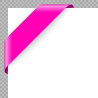 Cinta o bandera de la esquina en el fondo blanco.