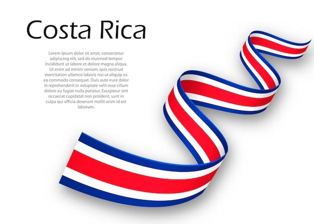 Cinta ondeando o banner con bandera de costa rica. plantilla para el diseño del cartel del día de la independencia