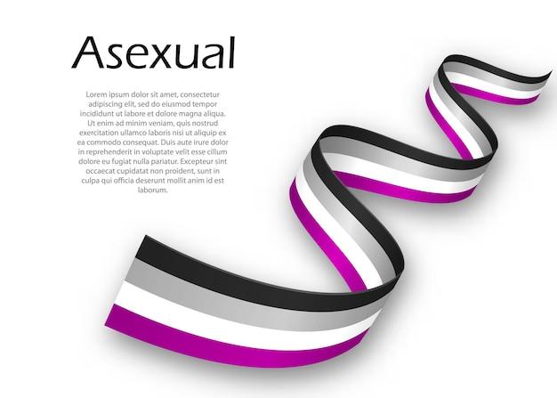 Cinta ondeando o banner con bandera de orgullo asexual, ilustración vectorial