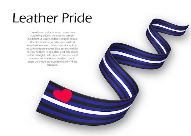 Cinta ondeando o banner con bandera de orgullo de cuero, ilustración vectorial