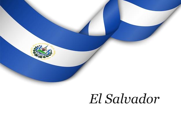 Cinta ondeando o banner con bandera de el salvador.