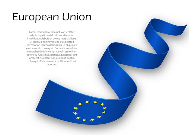 Cinta ondeando o banner con bandera de la unión europea. plantilla para el diseño del cartel del día de la independencia