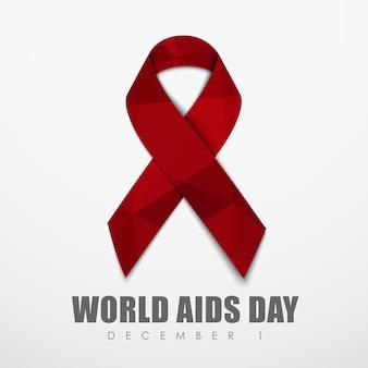 Cinta poligonal roja para el día mundial del sida