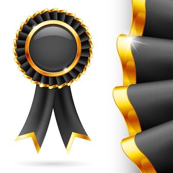 Cinta de premio negra brillante con ribete dorado. tejido con textura muy detallada