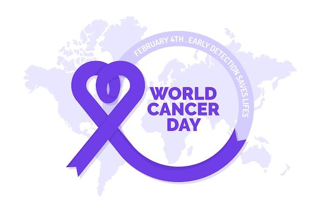 Cinta púrpura del día mundial del cáncer en el mapa del mundo