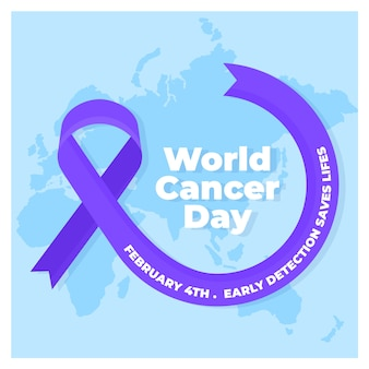 Cinta púrpura del día mundial del cáncer plana en el mapa del mundo