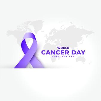 Cinta realista púrpura para banner del día mundial del cáncer