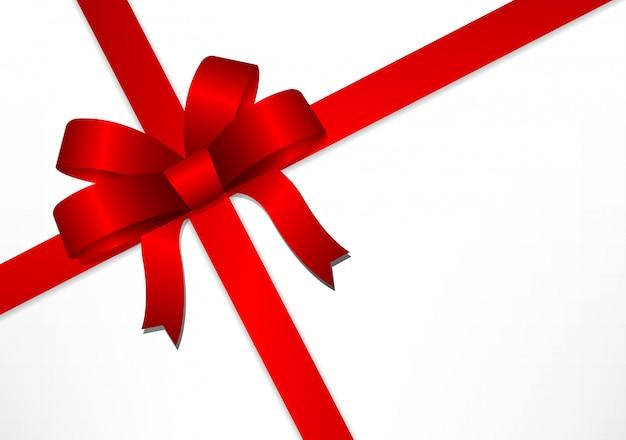 Cinta de regalo roja y lazo.