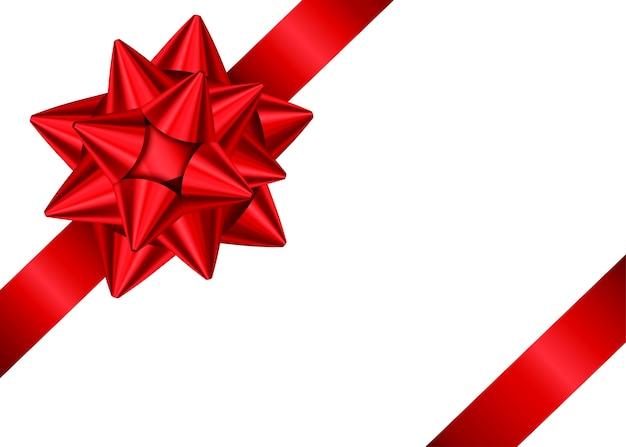 Cinta de regalo de satén rojo brillante y lazo para la decoración de la esquina de la página