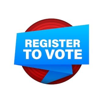 Cinta con registro para votar. banner de megáfono. diseño web. ilustración de stock vectorial.